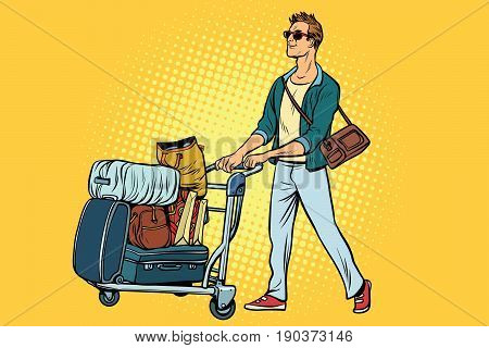 man tourist with Luggage cart. Pop art retro vector illustration