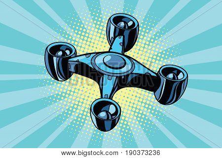 futuristic quadcopter drone. Pop art retro vector illustration
