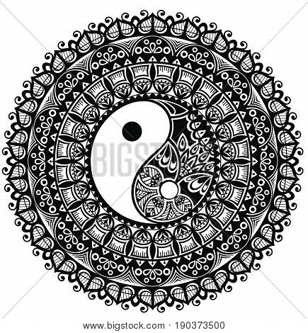 Yin Yang. Mandala for your design. Decorative mandala
