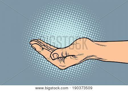 hand hand begging gesture. Pop art retro vector illustration