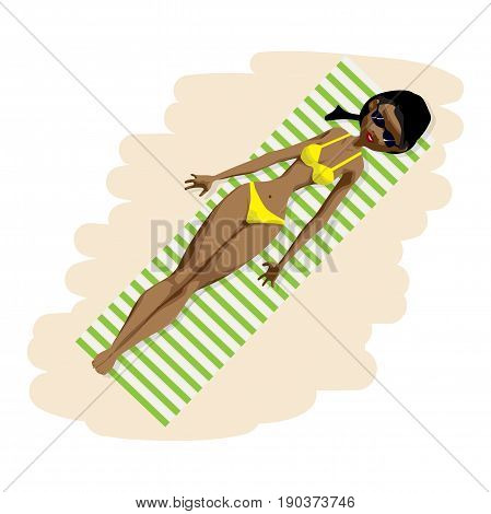 Young afro woman in bikini sunbathing lying on the beach. View from above. Vector flat cartoon illustration isolated