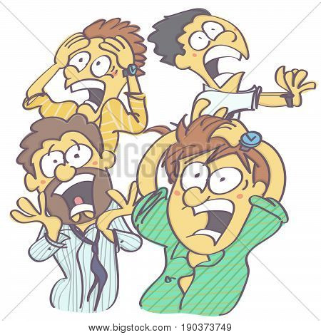Funny vector cartoon with group of men in panic and horror