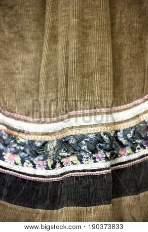 Brown Decorated With Flowers Tissue. Original Traditional Nanai Clothes Of Warm Fabric. Vintage Dres