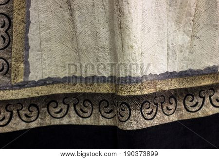 Fish Skin Tissue With Traditional Ethnic Ornament. Fabric Made From Fish In Nanai Village. Eco Cloth