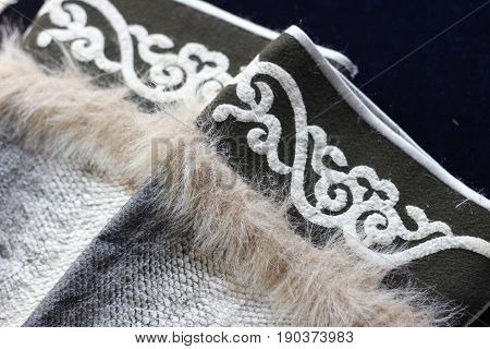 Parts Of Fish Skin Clothes Decorated With Fur And Traditional Asian Ornaments. Ethnic Nanai Craft.cl