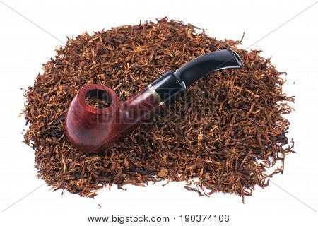 Pipe and tobacco, objects on a white background