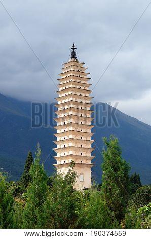 Dali old city Famous Three Pagodas. Yunnan province China. Yunnan province