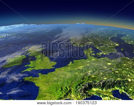 Evening Above Western Europe From Space