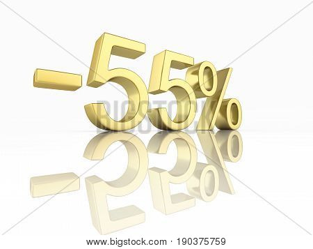 Gold Text 55 Percent Off On White Background With Reflection 3D Render