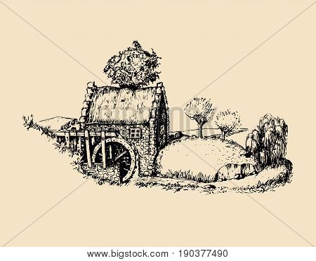 Hand drawn sketch of old rustic water mill. Vector rural landscape illustration of irish countryside or scottish highlands.