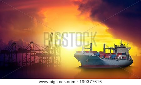 Container Cargo ship in the ocean at sunset sky Freight Transportation Shipping