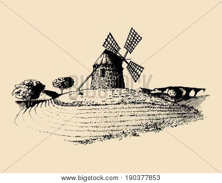 Hand drawn sketch of rustic windmill in fields. Vector rural landscape illustration. Mediterranean countryside poster, card.