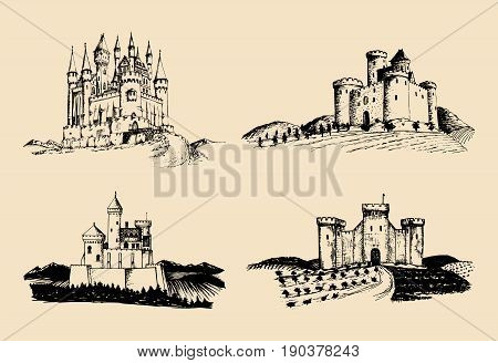 Vector old castles illustrations set. Countrysides with gothic fortresses. Hand drawn architectural landscapes of ancient towers with rural fields and hills.