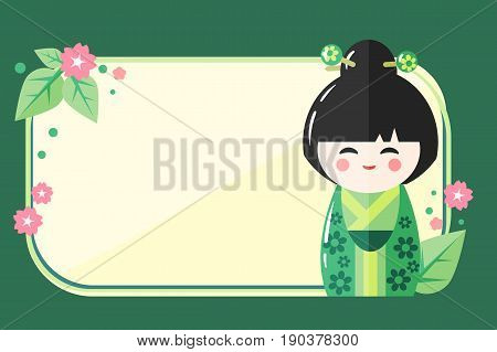 Greeting Card Template with Japanese Kokeshi Doll icon. Kawaii asian design with a place for your text