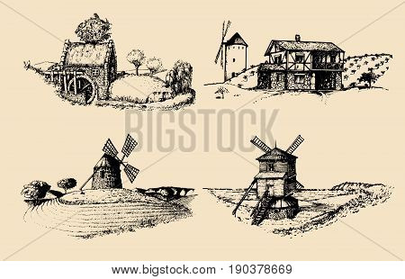 Hand drawn old rustic mills images. Vector rural landscape illustrations set. European countryside sketches for posters or cards.