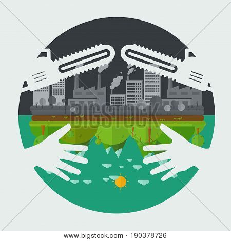 Eco friendly hands hug concept green tree.Environmentally friendly natural landscape. saw blade symbol concept destroy Environmentally .what will you choose concept. Vector illustration