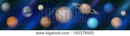 Space Horizontal Seamless Background with Solar System Planets Earth, Moon, Mercury, Venus, Mars, Jupiter, Saturn, Uranus, Neptune, Pluto and Charon. Elements Furnished by NASA. Eps10 Vector