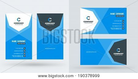 Double-sided Creative Business Card Template. Portrait And Landscape Orientation. Horizontal And Ver