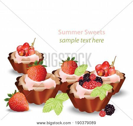 Delicious sweets and desserts with fruits tartlets. Summer confectionary bakery treats Vector illustration