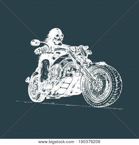 Vector hand drawn skeleton rider on motorcycle. Vintage eternal biker illustration for custom chopper logotype, MC sign, garage label.