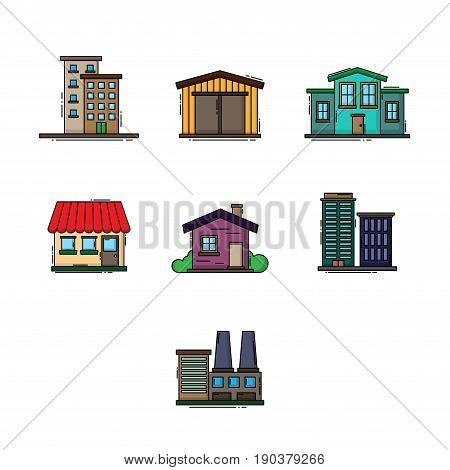 Set of different colorful buildings with outline silhouettes