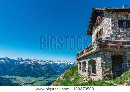 GRAEN, AUSTRIA - 28 April, 2017: Alpine Hut Bad Kissinger Huette on the Aggenstein Mountain near Graen, Austria