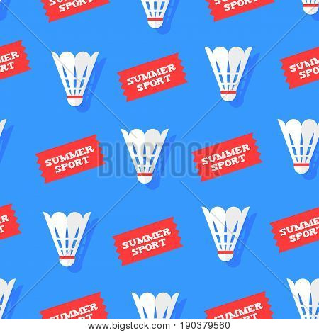 Seamless pattern with shuttlecocks and stickers summer sport. Flat style. Vector background.