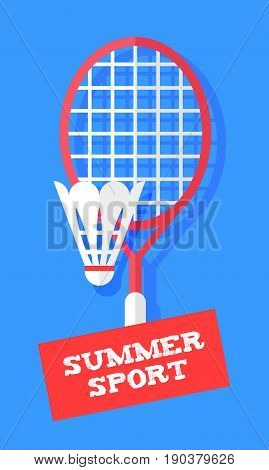 Badminton racket and shuttlecock on blue background. Sport banner in flat style. Vector.