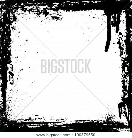 White background with black grunge ink blots frame
