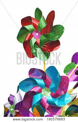 Colorful Pinwheels children toy on a white background