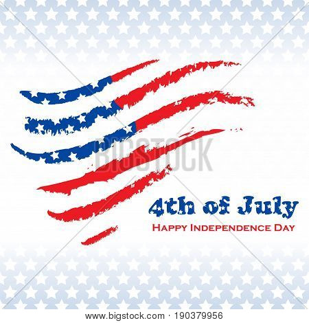 National USA independence day background with flag and text