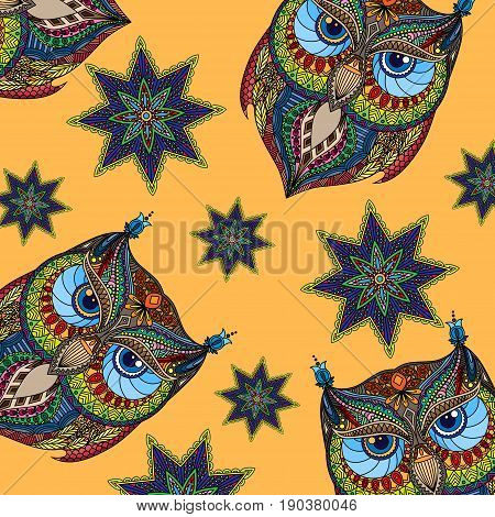 Orange background with colorful owl and abstract flowers