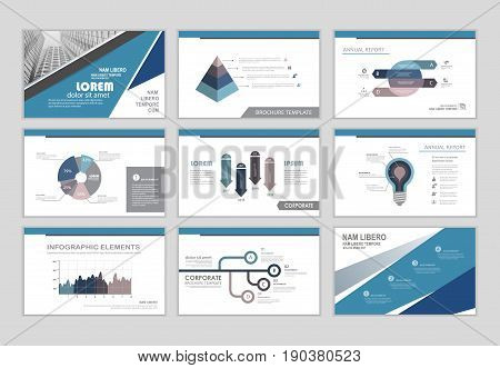 Infographic brochure elements for business and finance visualization. Set of infographic templates for flyer leaflet cover annual report presentation print website resume template