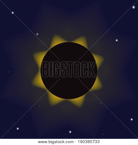 Illustration with a demonstration of a total eclipse of the sun. The moon closes the sun and only the blue sky the stars and the solar corona are visible.