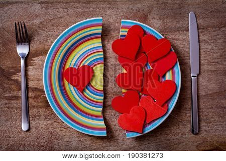 Broken Plate With Red Hearts