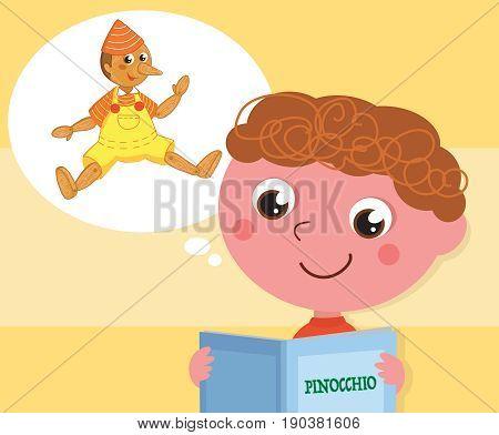 Cartoon child reading italian tale Pinocchio vector illustration