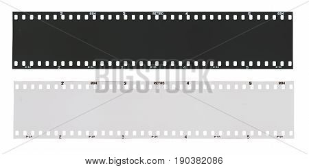 Empty black and 135 type (35mm) white film strip template in negative and positive isolated on white background with work path.