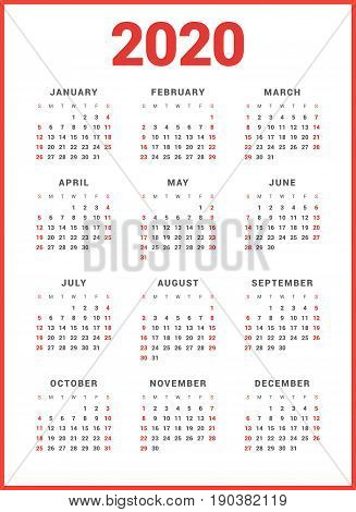 Calendar For 2020 Year On White Background. Week Starts Sunday. Simple Vector Template. Stationery D