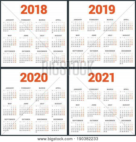 Set Of Calendars For 2018, 2019, 2020, 2021 Years. Week Starts Monday. Simple Vector Template. Stati