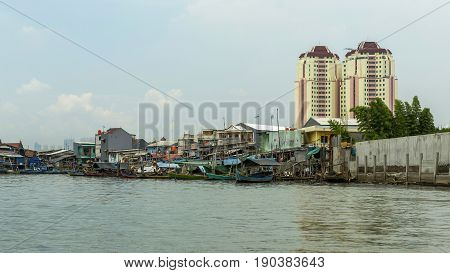 Sunda Kelapa old Harbour with fishing boats ship and docks in Jakarta Indonesia.
