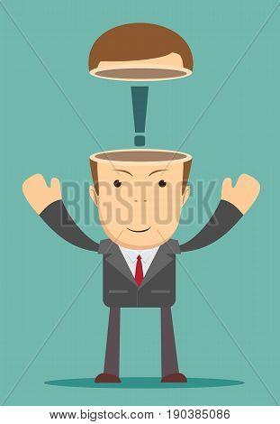Open minded man with exclamation mark inside. Conceptual image . Stock vector illustration for poster, greeting card, website, ad, business presentation, advertisement design.