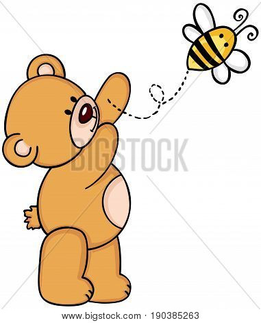 Scalable vectorial image representing a teddy bear with bee, isolated on white.