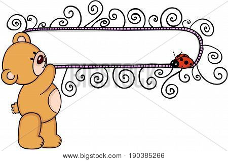 Teddy bear with blank floral banner and ladyird