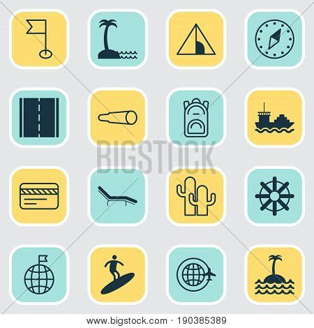 Tourism Icons Set. Collection Of Chaise Longue, Island Beach, Boardsports Elements. Also Includes Symbols Such As Plastic, Sea, North.