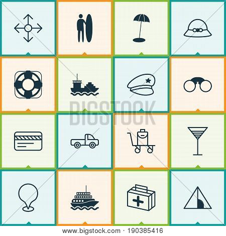 Travel Icons Set. Collection Of Cop Hat, Bank Card, Woman Cap And Other Elements. Also Includes Symbols Such As House, Aperitif, Beach.