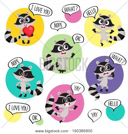 Emoji, emoticon stickers with cute raccoon character and speech bubbles, cartoon vector illustration isolated on white background. Funny little raccoon character saying words, showing emotions