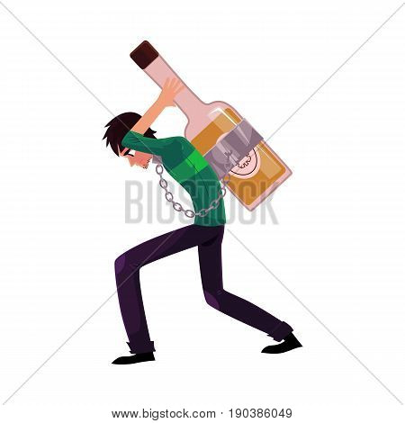 Young man chained to huge bottle of liquor, carrying it on his back, alcohol dependence concept, cartoon vector illustrations isolated on white background. Man chained to alcohol bottle on his back