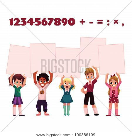 Children, kids holding empty boards for mathematic, arithmetic exercise presentation, cartoon vector illustration isolated on white background. Children, kids holding blank boards, signs over head