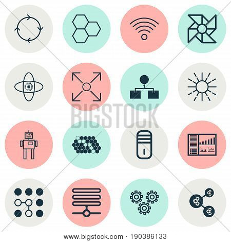 Icons Set. Collection Of Algorithm Illustration, Wireless Communications, Laptop Ventilator And Other Elements. Also Includes Symbols Such As Brightness, Complex, Information.