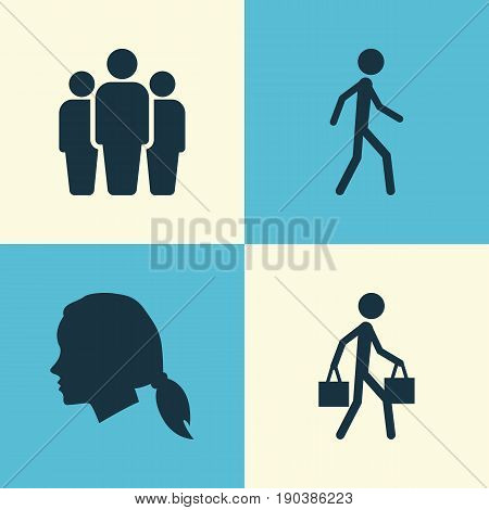 Human Icons Set. Collection Of Jogging, Group, Delivery Person And Other Elements. Also Includes Symbols Such As Courier, Delivery, Unity.